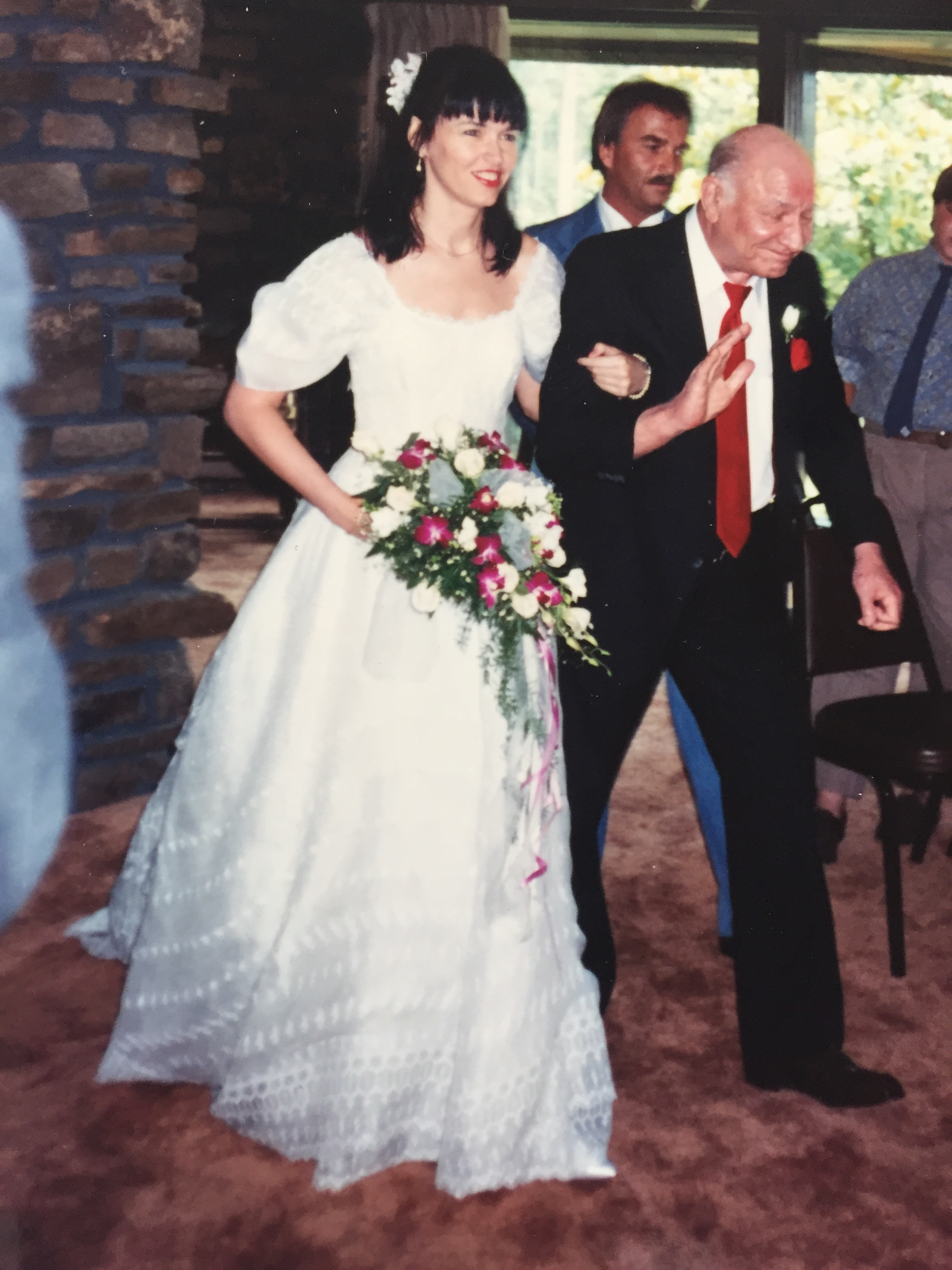 My dad makes it down the aisle, with my brother Tom behind him just in case. Thank you Tom.