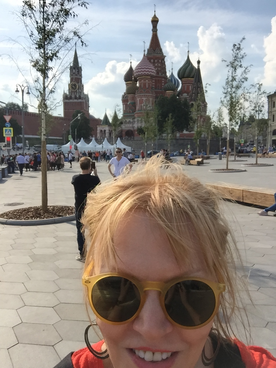 ML with Phil Cimino taking Jeremy Chatzky's picture in front of St. Basil's Cathedral in Red Square.
