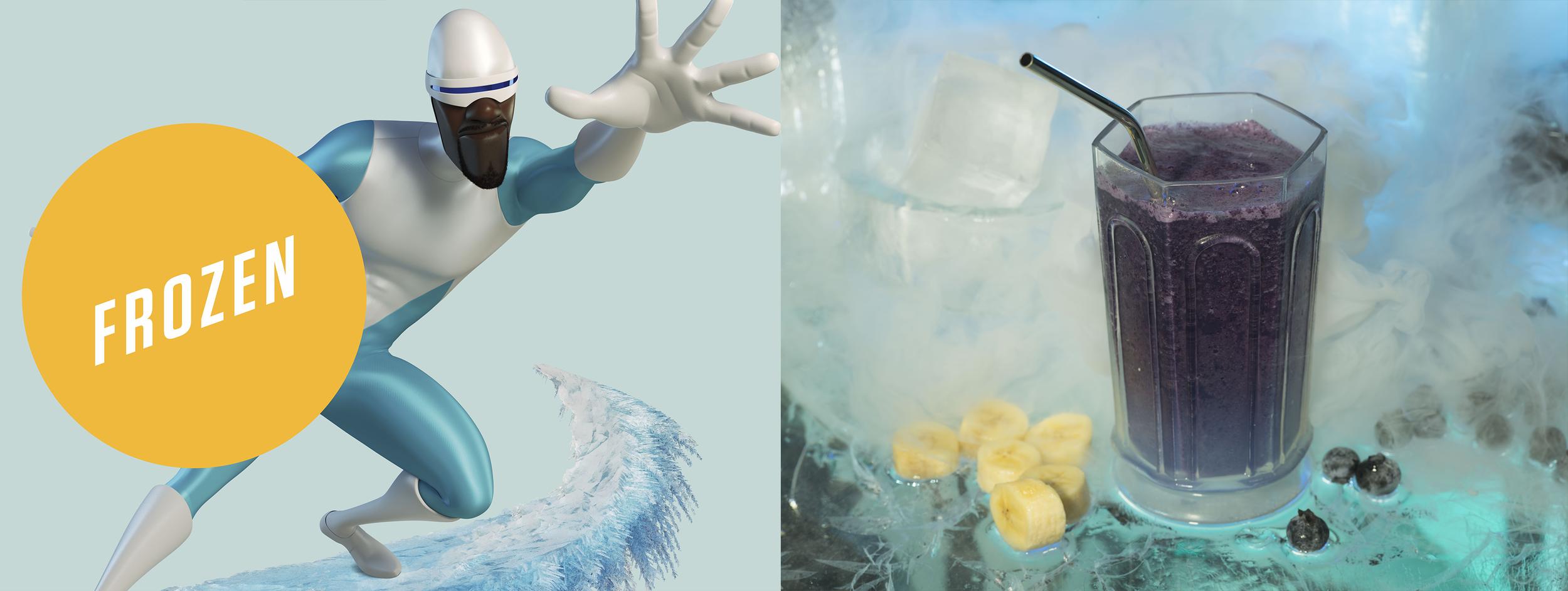 Frozone's Frozen Blueberry Protein Shake