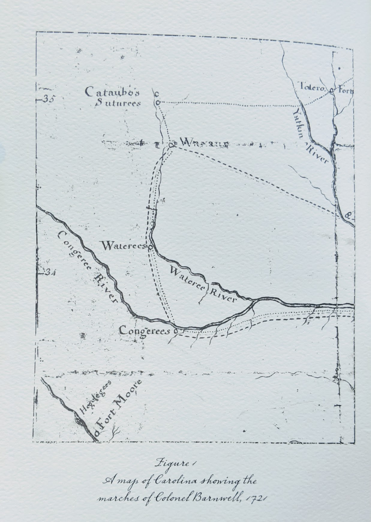 The First Map to… - …accurately represent the backcountry with any sort of detail was drawn by a trader and soldier of fortune, John Barnwell (Figure 1, Left). This map is of particular interest not only because it is the first map to show fairly accu­rate details in the backcountry, but also because John Lawson may have had an early version of it during his travels. Barnwell and the other principles involved with Lawson and the map were all military mercenaries and active Indian traders. It is quite likely they would have had a sketch map with the location of their trade partners. It is equally reasonable to presume that, if they had a map, they would have shared it with the young man they sent into the wilds.