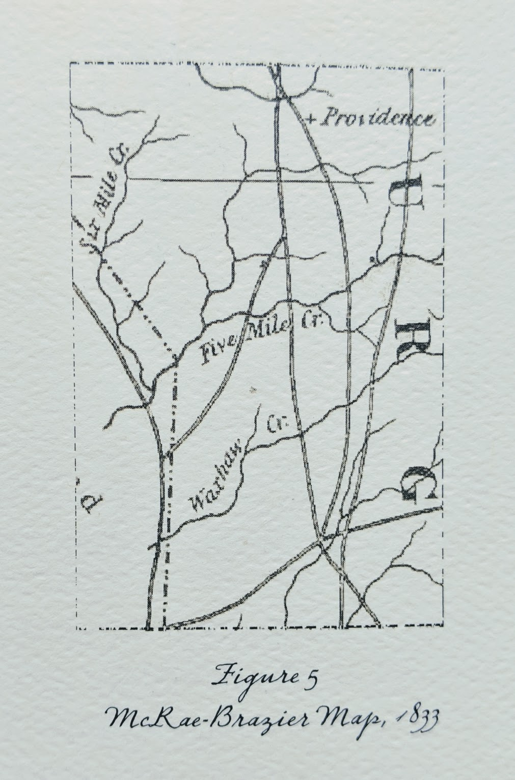 On the 1833 McRae-Brazier map, - We can see three of the eventual five roads com­ing together on the ridge between the West and East Forks of 12/Five Mile Creek (Figure 5, Left). Where these roads come together there is now a main entrance to Lawson. Of further interest is the fact that, though Providence Church appears on McRae-Brazier, Providence Road does not. Waxhaw still does not exist, and Matthews, by these mapmakers, was deemed unworthy of mentioning.