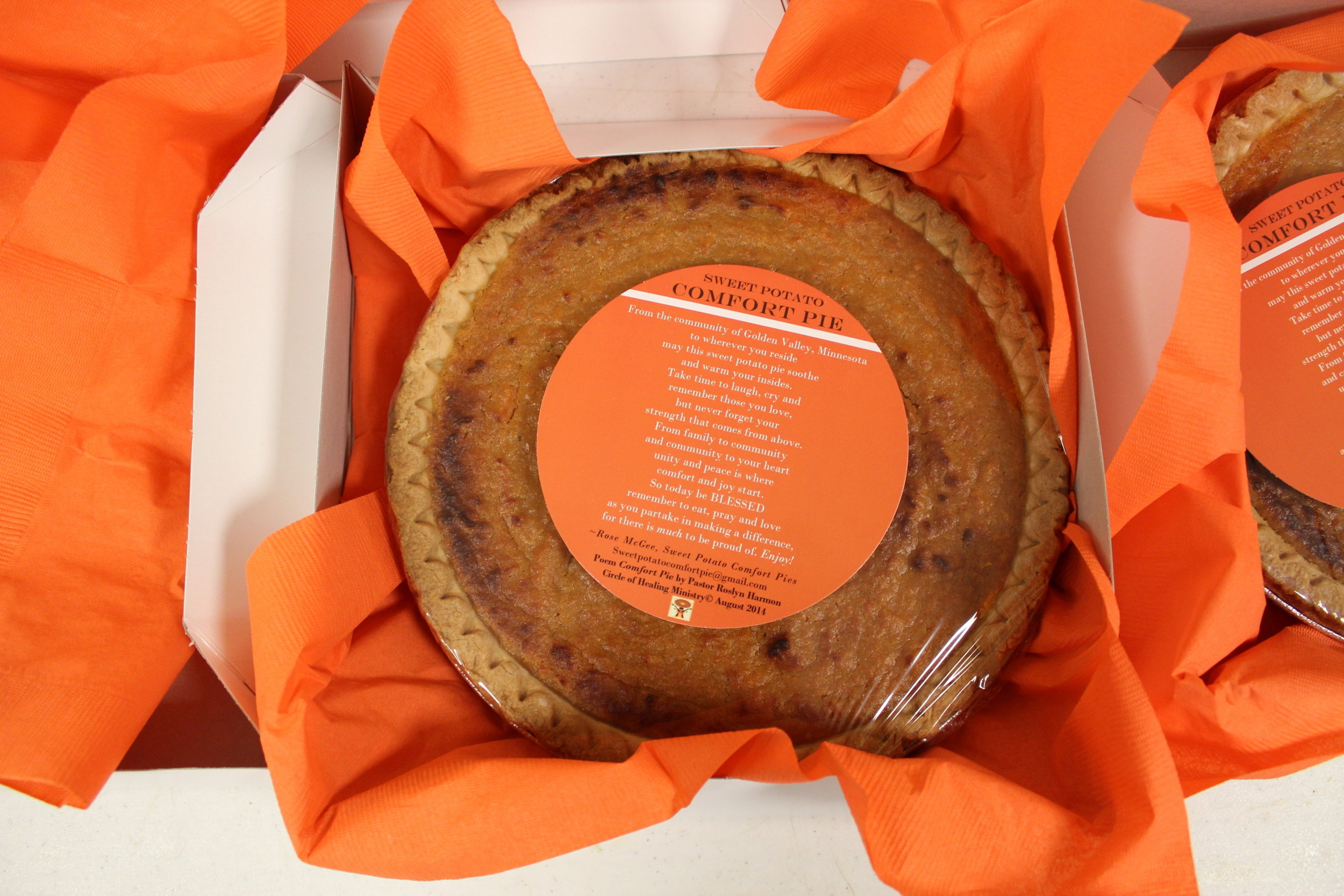 The Sweet Potato Comfort Pie Poem - Since it's inception, each Comfort Pie has been labeled with a Poem.