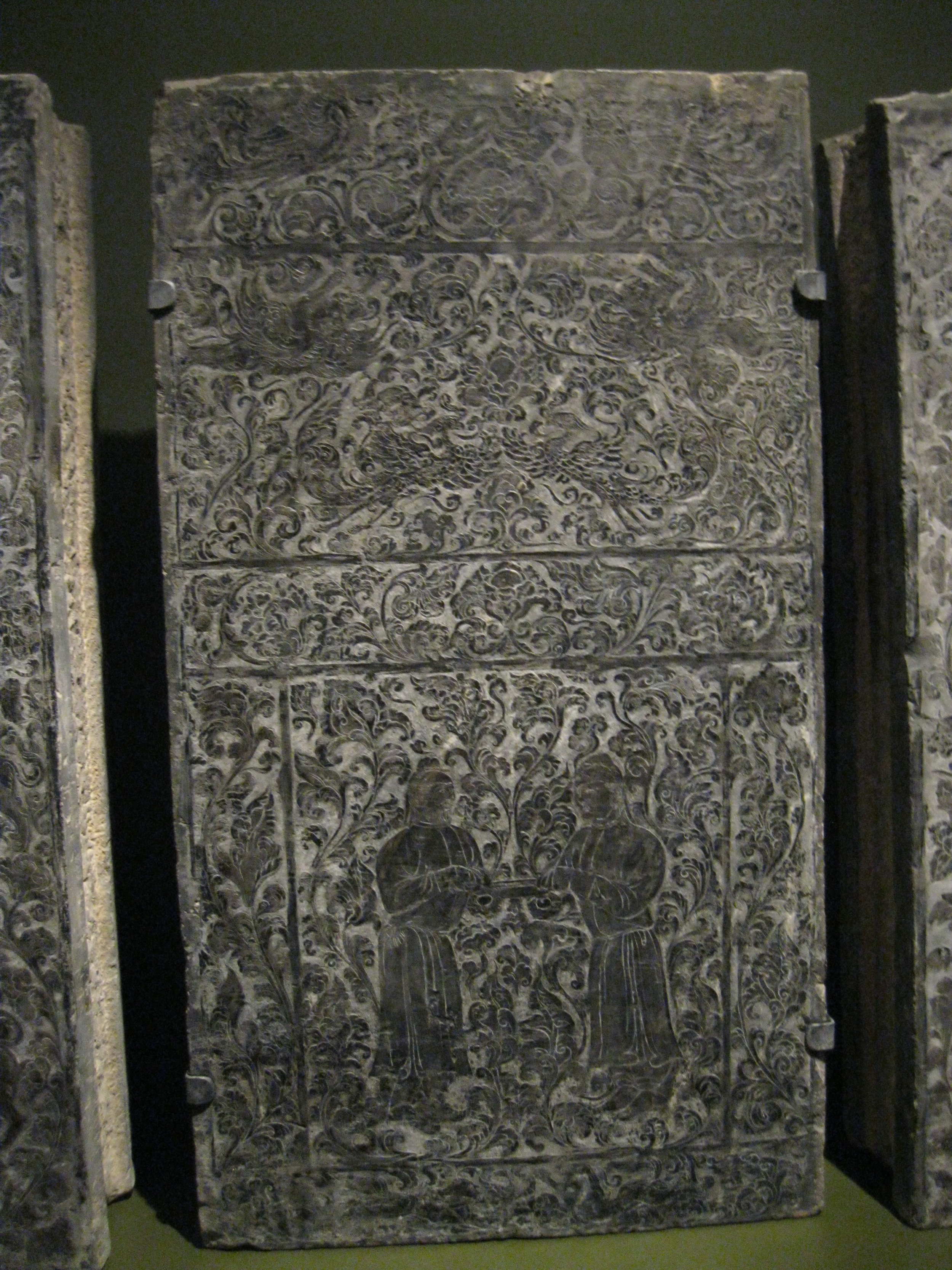 Panel from a house shaped sarcophagus, circa 618-907