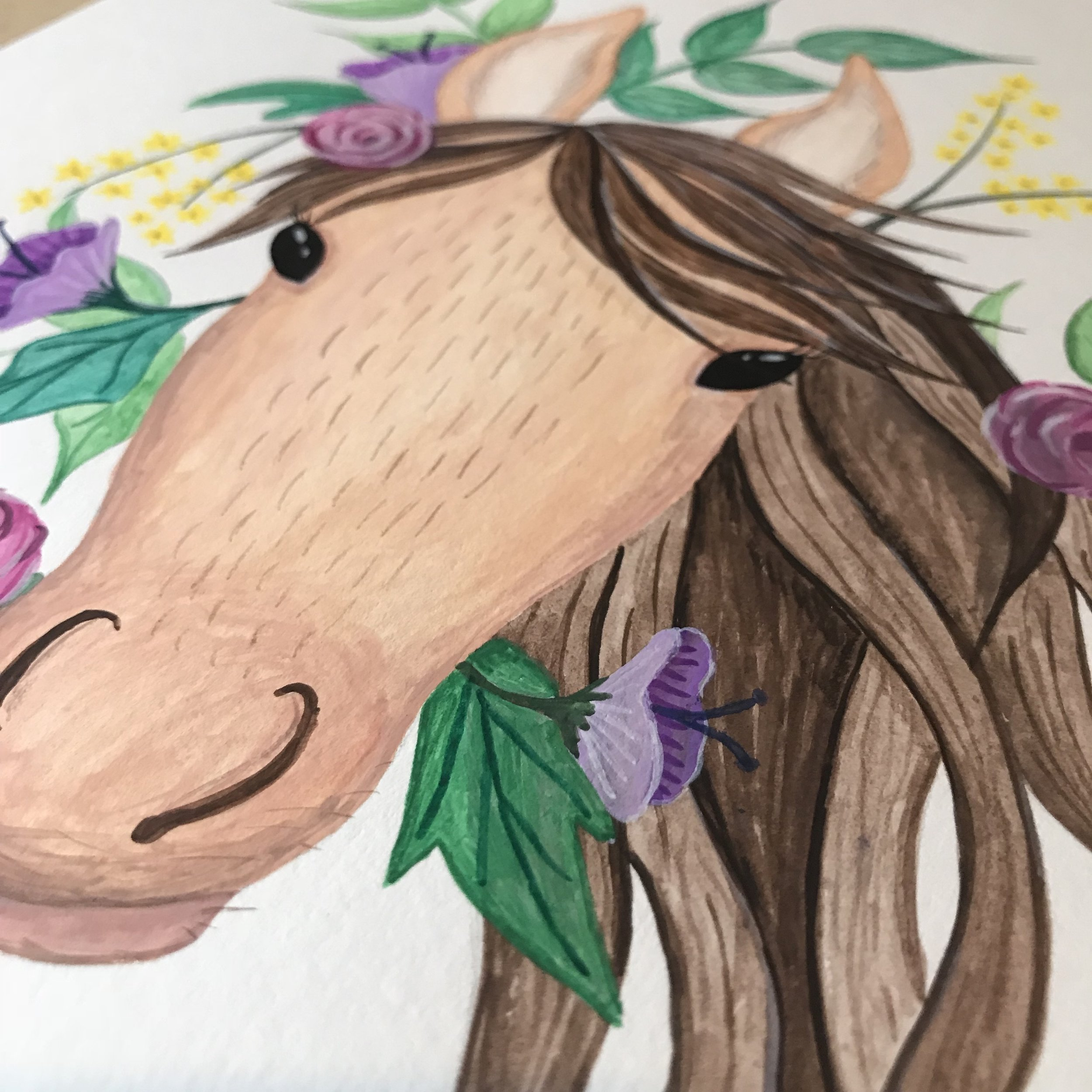 Gouache Pony with Flowers