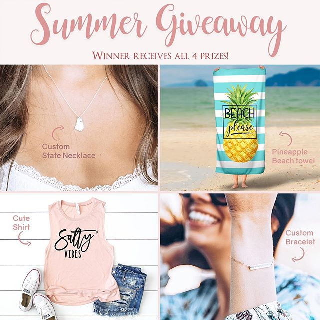 Summer Giveaway! • • Happy Summer everyone! I hope you're all enjoying the start of summer, longer days, & warm weather! We have teamed up with our friends at @sincerelysilverco and @thepineappleway to put together a little giveaway to celebrate summer! The winner will receive one of our Beach Please Pineapple Striped Beach Towels, a Salty Vibes Tank Top from The Pineapple Way, and a Coordinate Bracelet and State Cutout Necklace from Sincerely Silver! • TO ENTER: 1. Like this photo! 2. Make sure you're following us @mytreasuredgifts 3. Go follow @sincerelysilverco and like the picture/follow the directions on their post! 4. Tag a friend who would love to win!! 5. BONUS ENTRY: Repost this on you page for a bonus entry to win!  Giveaway ends 7/1