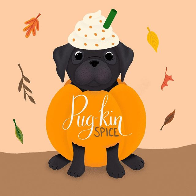 I'm doing some last minute illustrations for the fall and holiday season. It's just not fall without adding a happy little pug-kin spice to the mix!! I swear, every time I draw an outfit on my pug illustration I get a bit giddy! 😂😜 Now to decide what to put this little character on. What do you want to see me make with this cutie?