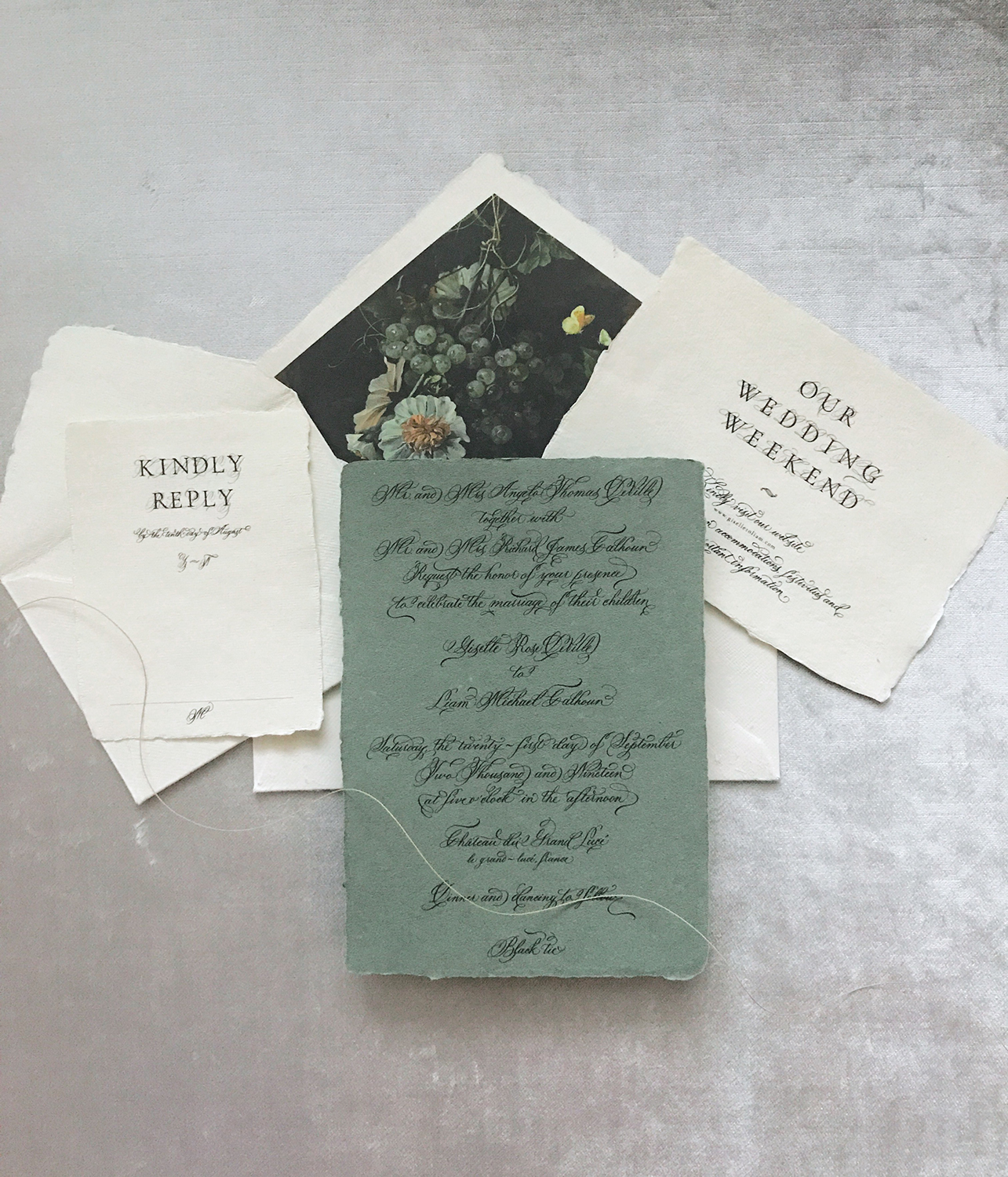 ivory-and-sage-green-wedding-invitation-full-calligraphy-suite-vintage-inspired-floral-custom-envelope-liner-for-wedding-invitations-by-leslie-and-paper-in-nj-wax-seal-custom-handwritten-wedding-calligraphy-old-world-inspiration.jpg