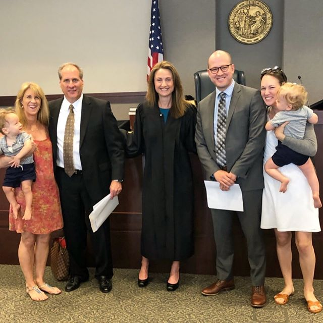 My two favorite dads got sworn into the North Carolina bar this morning. Congrats Papa Moose and Papa Père! We are particularly proud of Père for passing the NC bar exam decades after law school. Toby and Theo were very impressed and made the whole courtroom laugh by their excited greetings to the family lawyers as Mere and I walked up for pictures with the judge 😜