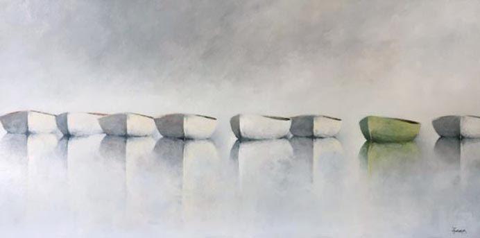 Seven White Boats, 24x48
