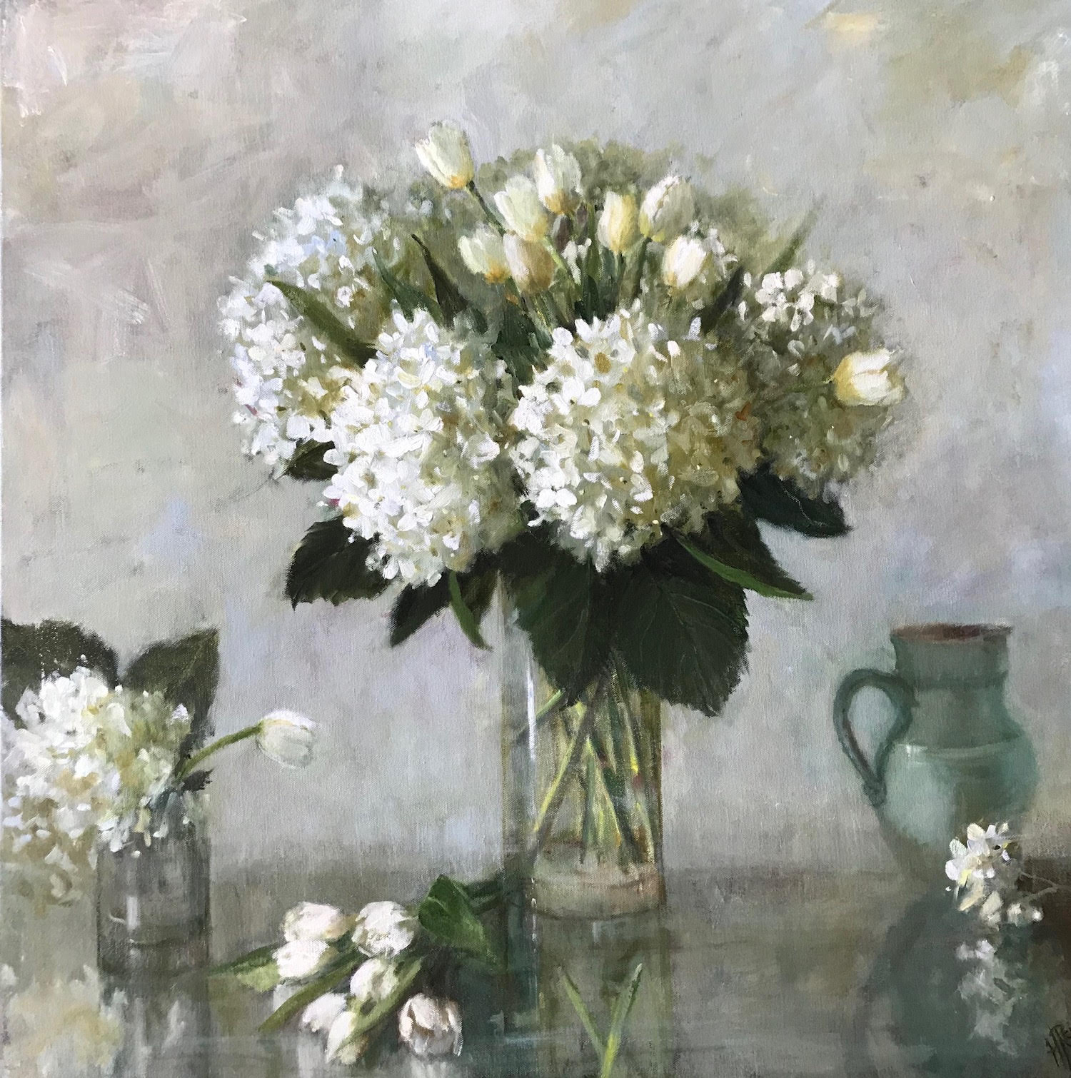 Spring Green Hydrangea with Tulips, 30x30