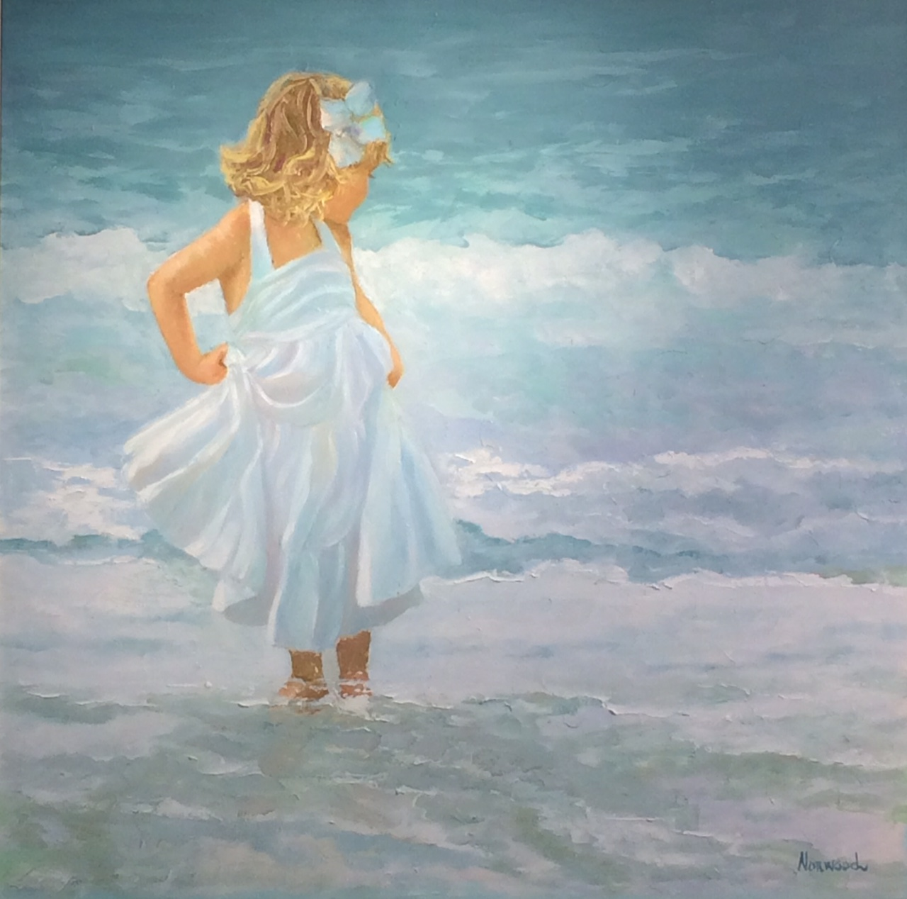 Being Careful with my Skirt, 48x48