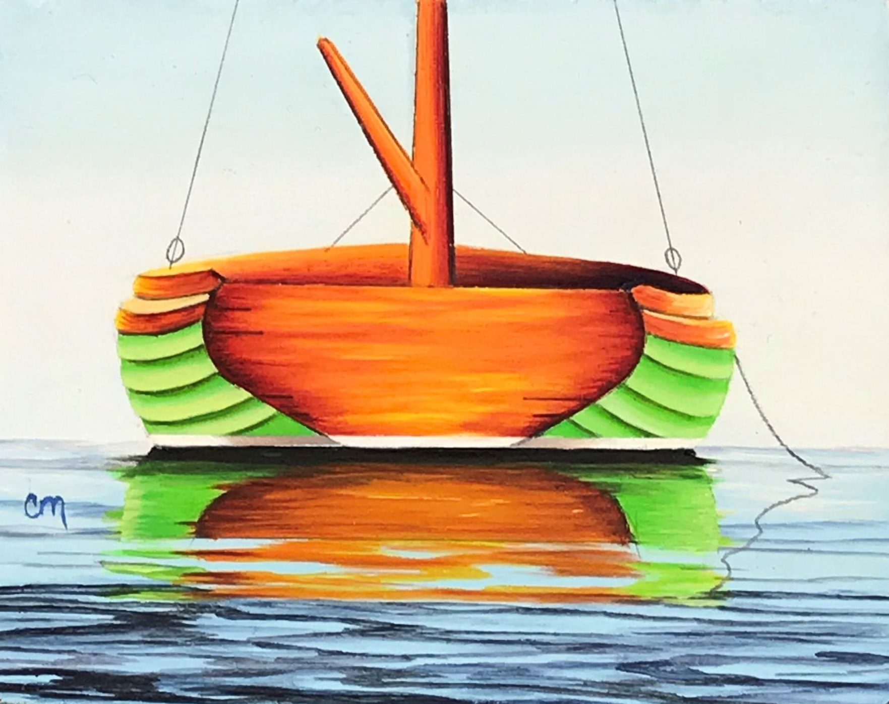 Lime Green Cat Boat, 4x5