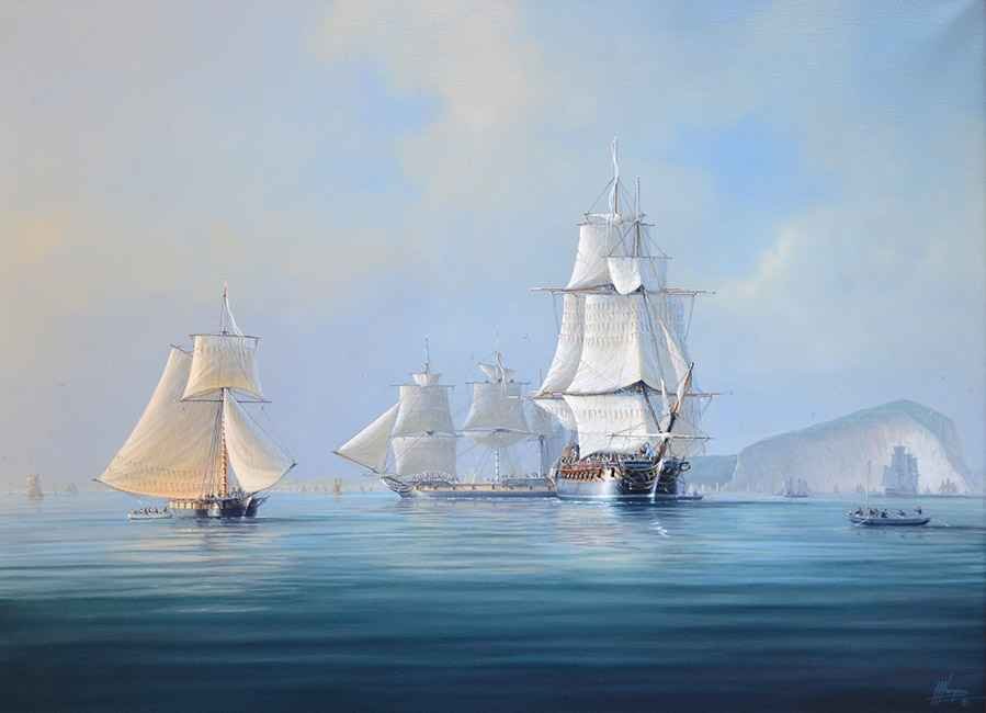 Sloop Becalmed off the Needles, Isle of Wight, 30x40
