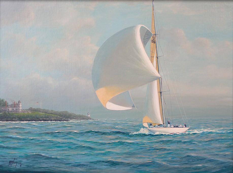 Harold Vanderbilt's 12 Metre Yacht at Castle Hill, 12x16