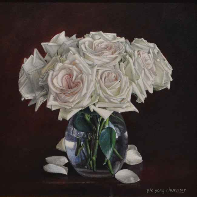 White Roses, 12x12