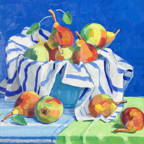 Pears and Stripes, 20x20