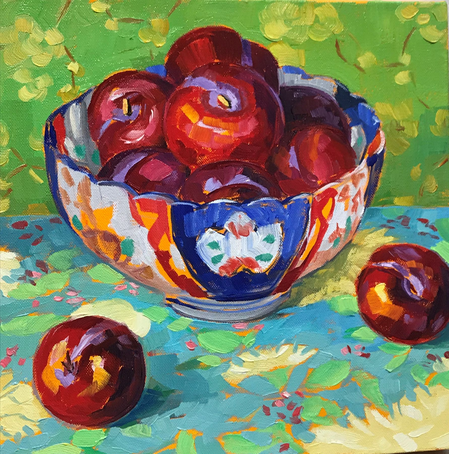 Red Plums in an Imari Dish, 12x12