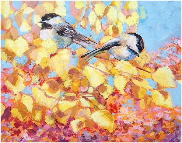 Black Capped Chickadees, 16x20
