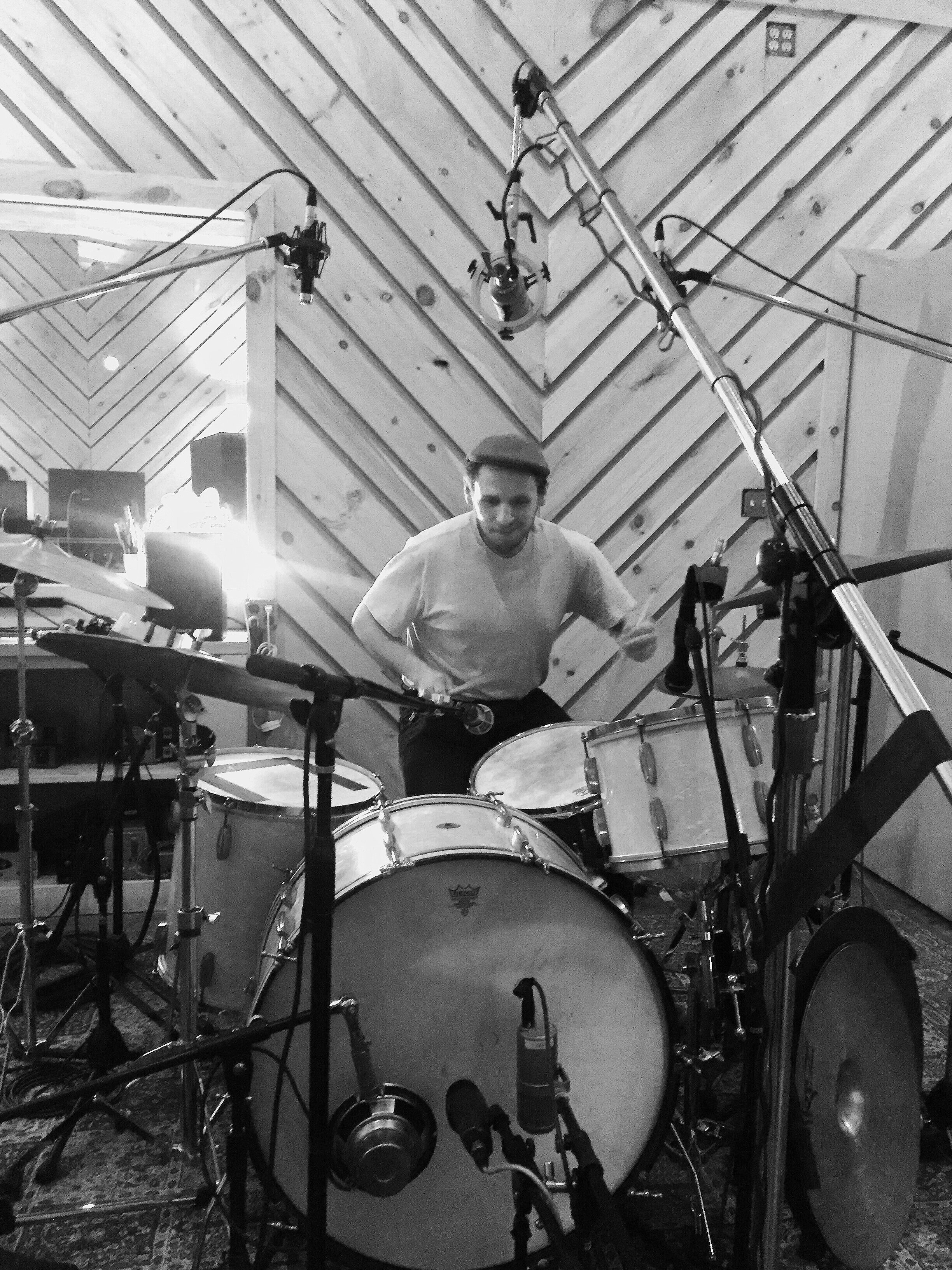 Vinnie Sperrazza at the drums at Bunker Studios