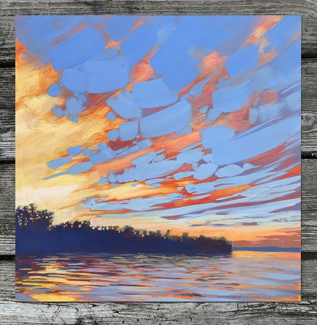 "My latest painting tries to capture that magical moment on a warm evening in late June when the day's light lingers on. I hope you enjoy it!⁠ ⁠ NORTH WOODS SKY, 12 x 12"", Acrylic on Panel, ©2019 Jim Musil 🎨  Original Available: $400 🎨⁠ 😉⁠ #art #artist #painting #artwork #lakehouse #lakelife #cabinlife #cabins #cabininthewoods #minnesotalife #northwoods #skylover #sunsets #cloudscape⁠ .⁠ .⁠ .⁠ .⁠ #galleryart #contemporarypainting #contemporaryartist #artcollection #arttoday #artforsalebyartist #impressionistic #acrylicpainting #artcurator #artcollector #artgallery #artistic #contemporaryart #landscapepainting #artistsofinstgram ⁠"