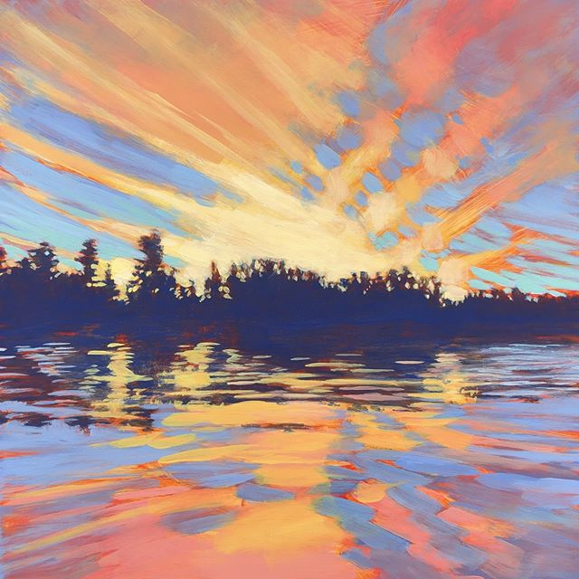 "GRINDSTONE SUNSET, 12 x 12"", Acrylic on Panel, ©2019 Jim Musil 🎨  Original: $400 🎨⁠ ⁠ My mom was a painter and my dad was a meteorologist. I think that's why I love to paint skies so much. This beauty was captured on Grindstone Lake in northern Minnesota. The day had been hot, humid and hazy, but by this time the air had cooled down nicely and the sky put on quite a show. I hope you enjoy my latest painting!⁠ 😉⁠ #art #artist #painting #artwork #lakehouse #lakeliving #cabinlife #cabin #upnorth #onthewater #skylovers #sunset⁠ .⁠ .⁠ .⁠ .⁠ #galleryart #contemporarypainting #contemporaryartist #artcollection #arttoday #artforsalebyartist #impressionistic #acrylicpainting #artcurator #artcollector #artgallery #artsy #contemporaryart #landscapepainting #artistsofinstgram ⁠"