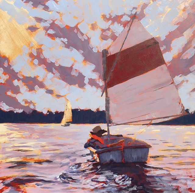 "For the next 24 hours, prints of this lovely painting are on sale. These are ready-to-hang archival prints mounted on 3/4"" natural wood panels. Enjoy!⁠ ⁠ SMALL SAILBOAT 🎨  24 Hour Print Sale! 🎨⁠ ⁠ #art #artist #painting #artworks #skylovers #sailing #coastaldecor #cloudlovers #sailboat #seascape #cloudscape #beachscape⁠ .⁠ .⁠ .⁠ .⁠ .⁠ #galleryart #contemporarypainting #contemporaryartist #artcollection #studioscenes #artaddict #landscapepainting #abstractlandscape #artforsalebyartist #impressionism #artistsofinstagram #acrylicpainting  #artistlife #artcurator #artcollector #artgallery #artsy #contemporaryart ⁠"