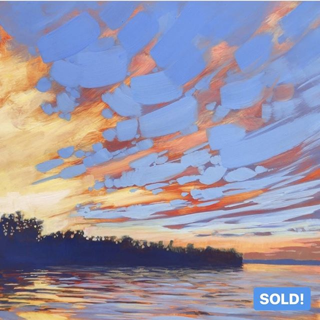 "Yay! This painting is officially SOLD. Huge thanks to my new collector @martemiw in California.⁠ ⁠ NORTH WOODS SKY, 12 x 12"", Acrylic on Panel, ©2019 Jim Musil 🎨  Original: SOLD! 🎨⁠ 😉⁠ #art #artist #painting #artwork #lakehouse #lakeliving #cabinlife #cabin #upnorth #onthewater #skylovers #sunset⁠ .⁠ .⁠ .⁠ .⁠ #galleryart #contemporarypainting #contemporaryartist #artcollection #arttoday #artforsalebyartist #impressionistic #acrylicpainting #artcurator #artcollector #artgallery #artsy #contemporaryart #landscapepainting #artistsofinstgram ⁠"