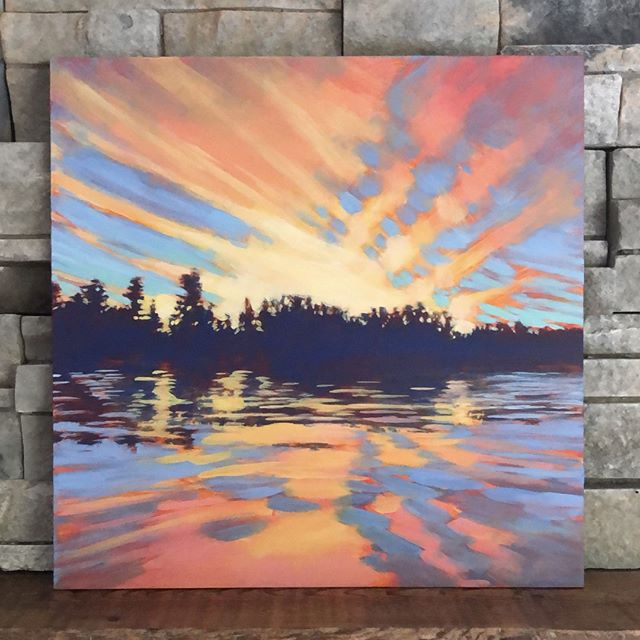 "Here's another view of my latest painting. My mom was a painter and my dad was a meteorologist. Is that why I love to paint skies so much?⁠ ⁠ GRINDSTONE SUNSET, 12 x 12"", Acrylic on Panel, ©2019 Jim Musil 🎨  Original: SOLD! 🎨⁠ 😉⁠ #art #artist #artwork #lakelife #minnesota #cabinlife #cabin #upnorth #sunsetlover #skylover #seascape #cloudscape #epicsky⁠ .⁠ .⁠ .⁠ .⁠ #galleryart #contemporarypainting #contemporaryartist #artcollection #artfinder #artforsale #impressionistic #acrylicpainting #artcurator #artcollector #artgallery #artsy #contemporaryart #landscapepainting #artistsofinstgram ⁠"
