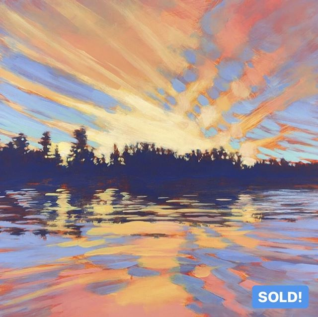 "Happy to report that this painting is officially SOLD! It's off to it's new home in Ontario.⁠ ⁠ GRINDSTONE SUNSET, 12 x 12"", Acrylic on Panel, ©2019 Jim Musil 🎨  Original: SOLD! 🎨⁠ 😉⁠ #art #artist #artwork #lakelife #northwoods #cabinlife #cabin #northernsky #sunset #north #skylovers #cloudscape #epicsky #skypainting⁠ .⁠ .⁠ .⁠ .⁠ #galleryart #contemporarypainting #contemporaryartist #artcollection #artfinder #artforsale #impressionistic #acrylicpainting #artcurator #artcollector #artgallery #artsy #contemporaryart #landscapepainting #artistsofinstgram ⁠"