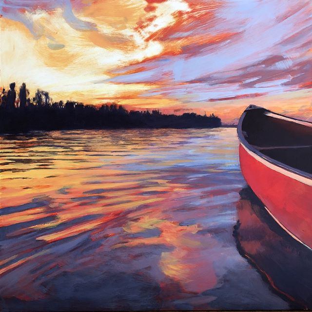 "RED CANOE, 12 x 12"", Acrylic on Panel, ©2019 Jim Musil 🎨  Original: $400 🎨⁠ ⁠ I'm quite happy to keep painting different variations of sky and water. This time I've introduced a classic red canoe into the mix. If you've ever been lucky enough to float in a boat as evening arrives, you know what a magical time it is. You are floating on a sunset. It's absolutely mesmerizing. This peaceful feeling is actually very similar to how I feel when I paint. I hope you enjoy my latest painting!⁠ 😉⁠ #art #artist #painting #artwork #lakehouse #lakeliving #cabinlife #cabin #upnorth #onthewater #skylovers #sunset⁠ .⁠ .⁠ .⁠ .⁠ #galleryart #contemporarypainting #contemporaryartist #artcollection #arttoday #artforsalebyartist #impressionistic #acrylicpainting #artcurator #artcollector #artgallery #artsy #contemporaryart #landscapepainting #artistsofinstgram ⁠"