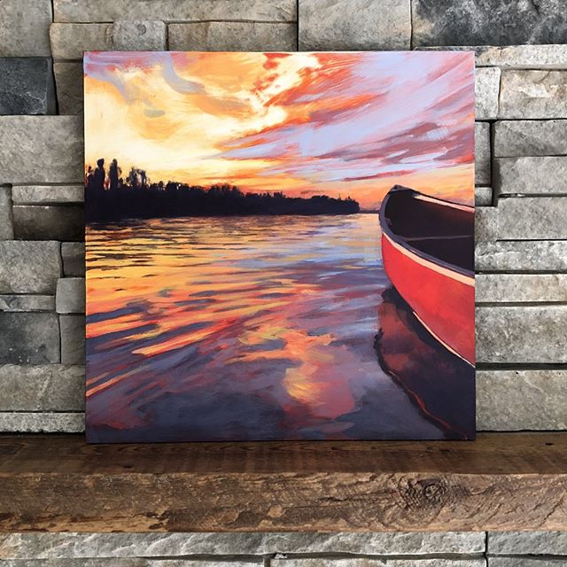"I'm quite happy to keep painting different variations of sky and water. This time I've introduced a classic red canoe into the mix. If you've ever been lucky enough to float in a boat as evening arrives, you know what a magical time it is. You are floating on a sunset. It's absolutely mesmerizing. This peaceful feeling is actually very similar to how I feel when I paint. I hope you enjoy my latest painting!⁠ ⁠ RED CANOE, 12 x 12"", Acrylic on Panel, ©2019 Jim Musil 🎨  Original: $400 🎨⁠ 😉⁠ #art #artist #painting #artwork #lakelife #canoe #northwoods #minnesota #lakeshore #cabin #lakecountry #sunsets #skylover #sunset #skyscape⁠ .⁠ .⁠ .⁠ .⁠ .⁠ #galleryart #contemporarypainting #contemporaryartist #artcollection #arttoday #artforsalebyartist #impressionistic #acrylicpainting #artcurator #artcollector #artgallery #artsy #contemporaryart #landscapepainting #artistsofinstgram ⁠"