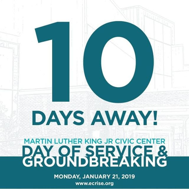THE COUNTDOWN STARTS NOW! 10 days until the official launch of the MLK Civic Center Renovation Project. Are you excited? Because we are!! 😊#MLKCivicCenter #ECRise