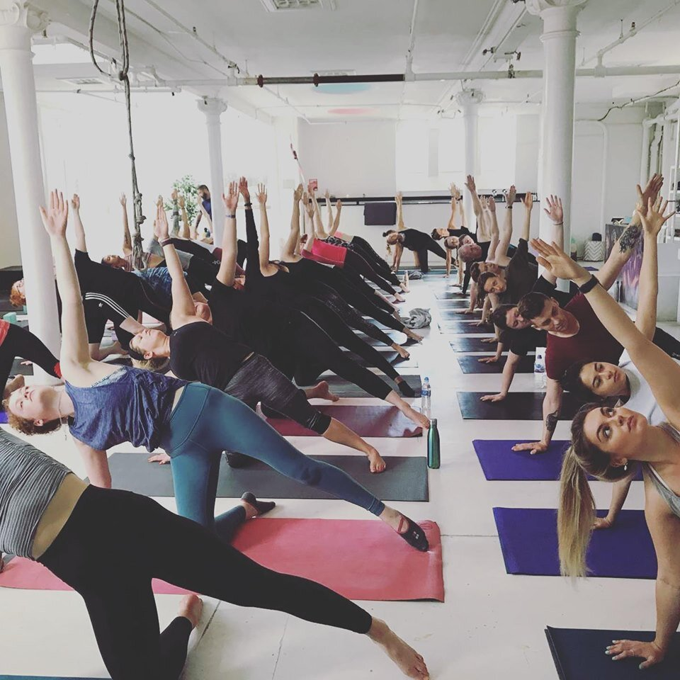 Founders, Borja and Emma in the studio guiding everyone through, Salka's first ever Sunday Session with #lululemonGlasgow, July 2019.