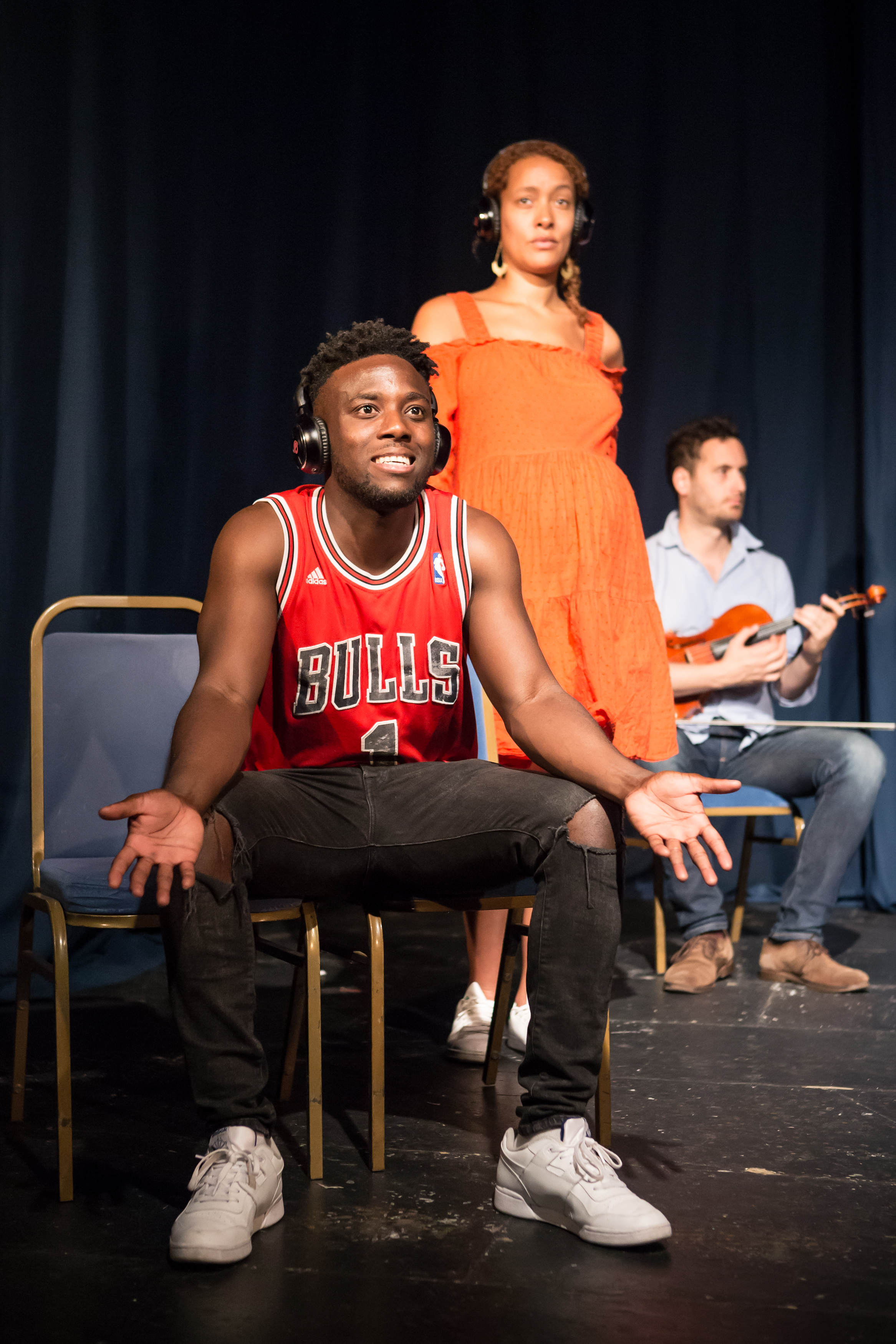 Longsight Theatre: Bayo Gbadamosi, Eloise Joseph, and Benedict Taylor in 'Young Hot Bloods' at From The Forest Festival, 2018