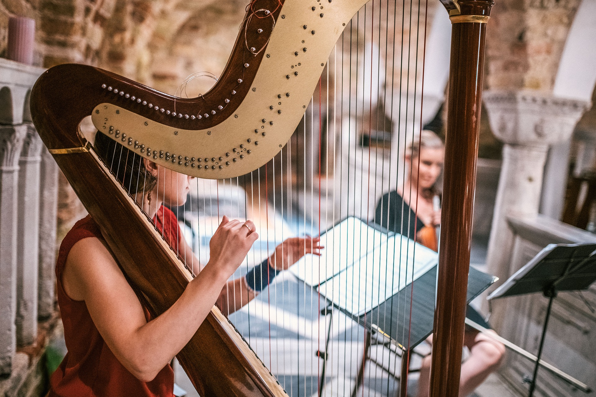 Harp - The plucked string instrument that sounds like a beautiful waterfall of notes from heaven. Sometimes there's just one harp, sometimes two… and every once in a while, the rare thrill of more harps.