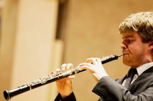Oboe & English Horn - The oboe looks like a smaller, skinnier clarinet, except instead of a mouthpiece with a single reed, it just has a double reed (two reeds sandwiched together) that you stick into the top of it and blow directly into. Oboe sounds like when you put a piece of grass or wax paper between your thumbs and blow (that high pitched, zippy sound – but, like, awesome). The ENGLISH HORN is a really long oboe with a super buttery, mellow tone.