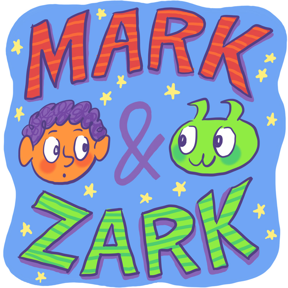 Mark & Zark - Mark just moved to a new town, and he's wishing for a new friend. He didn't expect one to drop right out of the sky, or for that new friend to be a Martian! Despite being green, having antennas, and using a flying saucer for transportation, Zark is a kid just like Mark. Once Mark gets over the shock of meeting a real Martian, the two quickly become friends. Mark shows Zark all about life on Earth—family, school, food, games, etc.—while keeping Zark out of sight.Mark & Zark updates on Zaturmay, a Martian day of the week that usually falls on Earth Saturday, except when it doesn't.Read the story now!