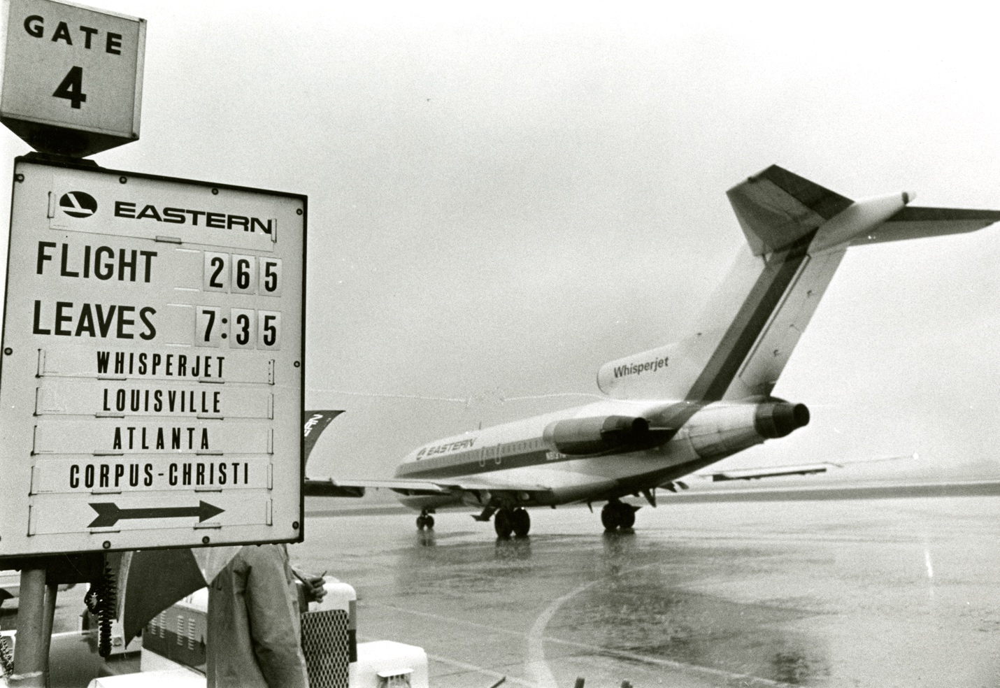 Regularly scheduled jet service commenced in Evansville with the landing and departure of an Eastern Airlines Whisperjet 727 on April 30, 1967.   Collection of the Evansville Museum    Gift of Kathie J. Meredith, Canadaigua, New York    In Memory of the Evansville Press and its Photographers    2013.027.0018