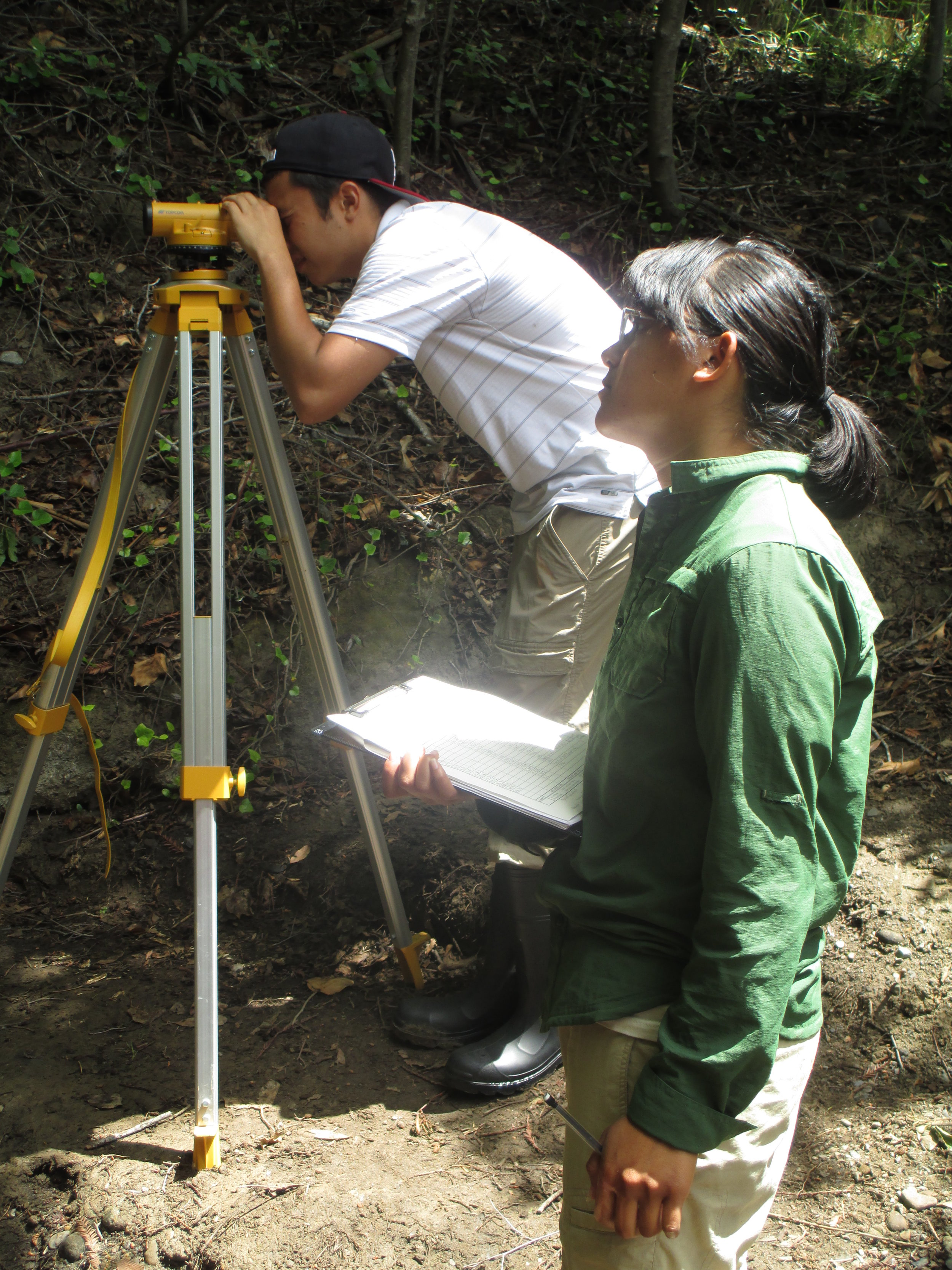 CUSP training community college youth in surveying streams.