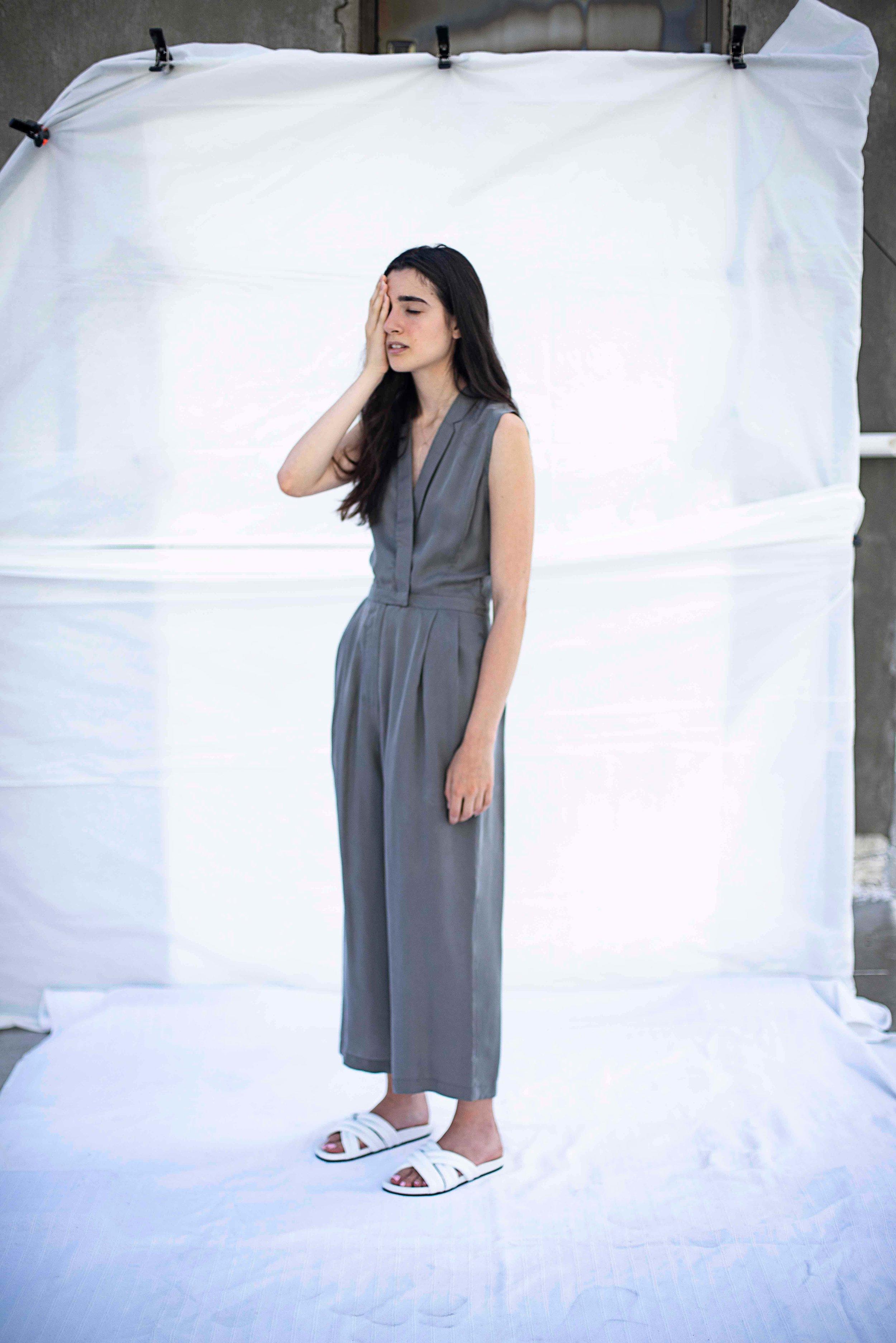 Le Persephone Jumpsuit Grey $419