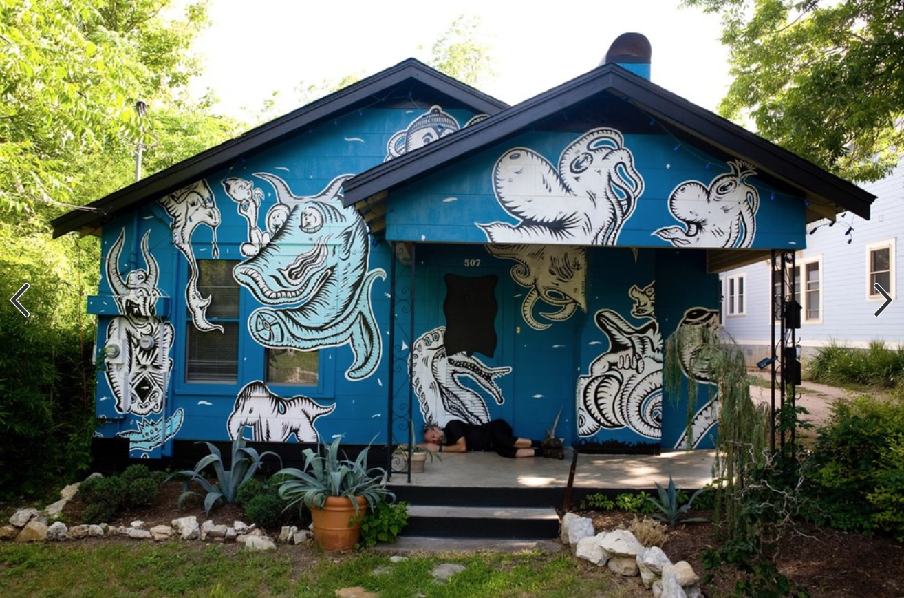 """Ghosts of a Chance,""  Austin, TX - 2010. Acrylic / oil on wood shingles. 12 ft x 100 ft."