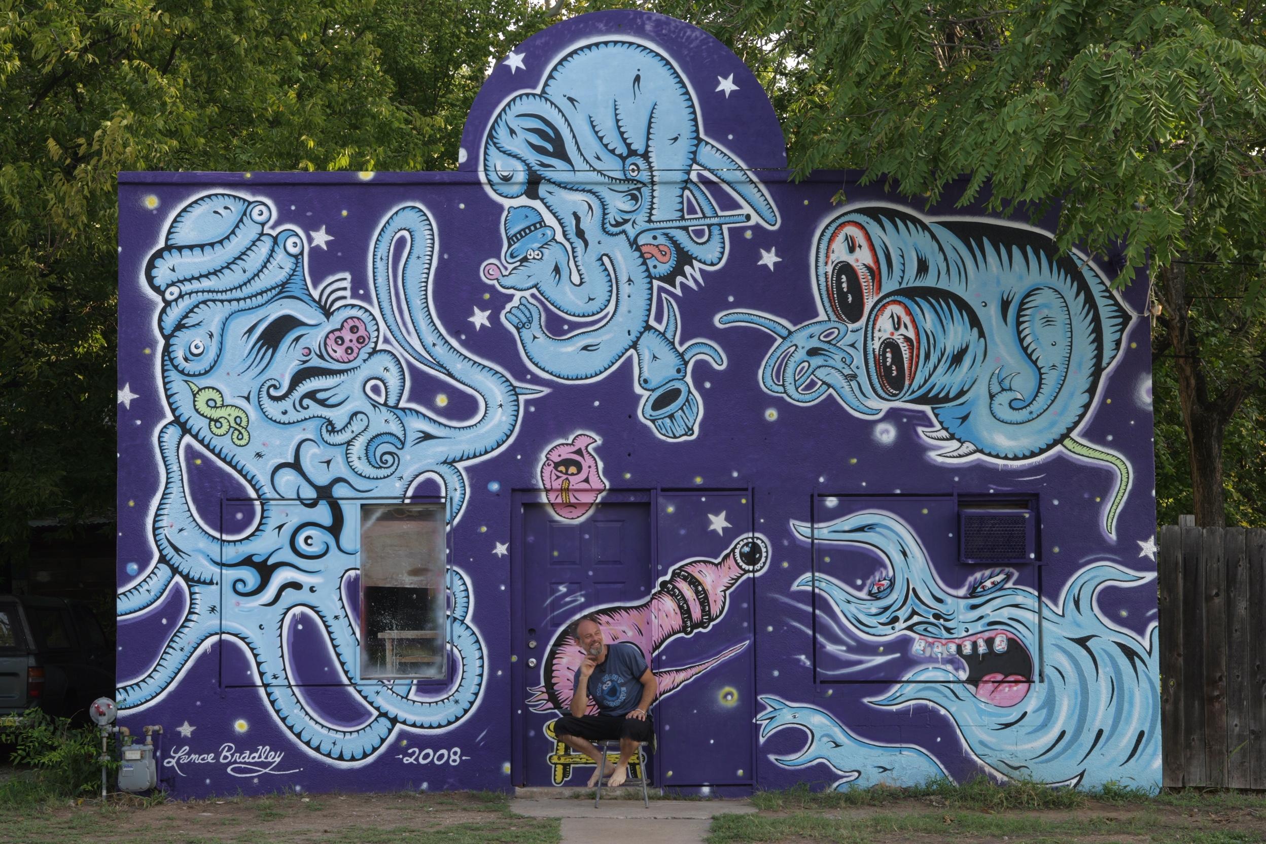 """Demon Shrimp Fest,""  Austin, TX -2008. Acrylic / oil on CMU and wood, 15 ft x 24 ft."