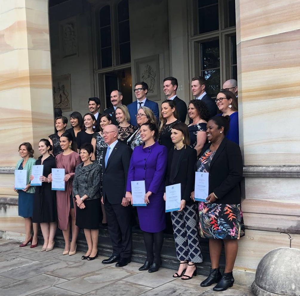 NSW Churchill Fellow recipients at Government House, 26 October, 2018.