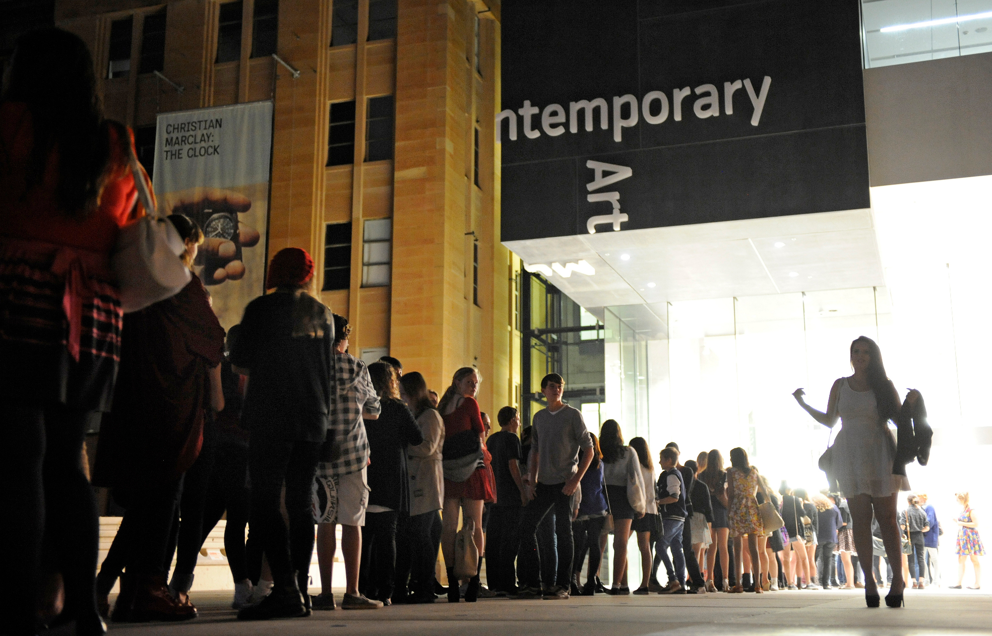 Young people lining up for GENEXT, April 2012, the MCA's flagship event for young people aged 12-18. The program is developed and run by the Museum's Youth Committee. Image courtesy: MCA Australia.
