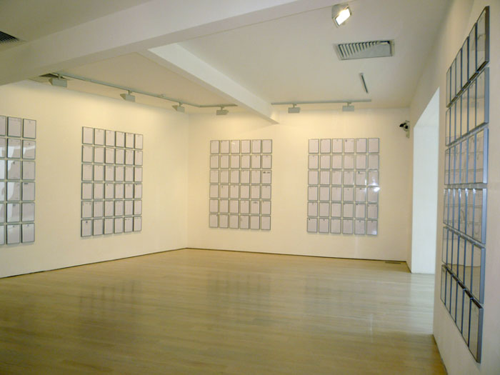Installation view, Suzanne Treister,  Correspondence,  Annely Juda Fine Art, London, 2008.