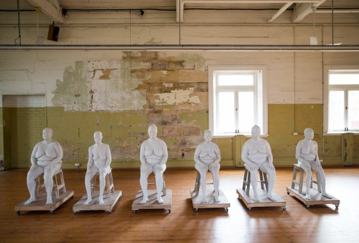 Bhakti Kher,  Six Women , 2013–15, plaster of paris, wood, metal, approximately 123 x 61 x 95.5 cm each. Installation view (2016) at Cockatoo Island for the 20th Biennale of Sydney. Courtesy the artist and Hauser & Wirth, London and Zürich. Photograph: Ben Symons