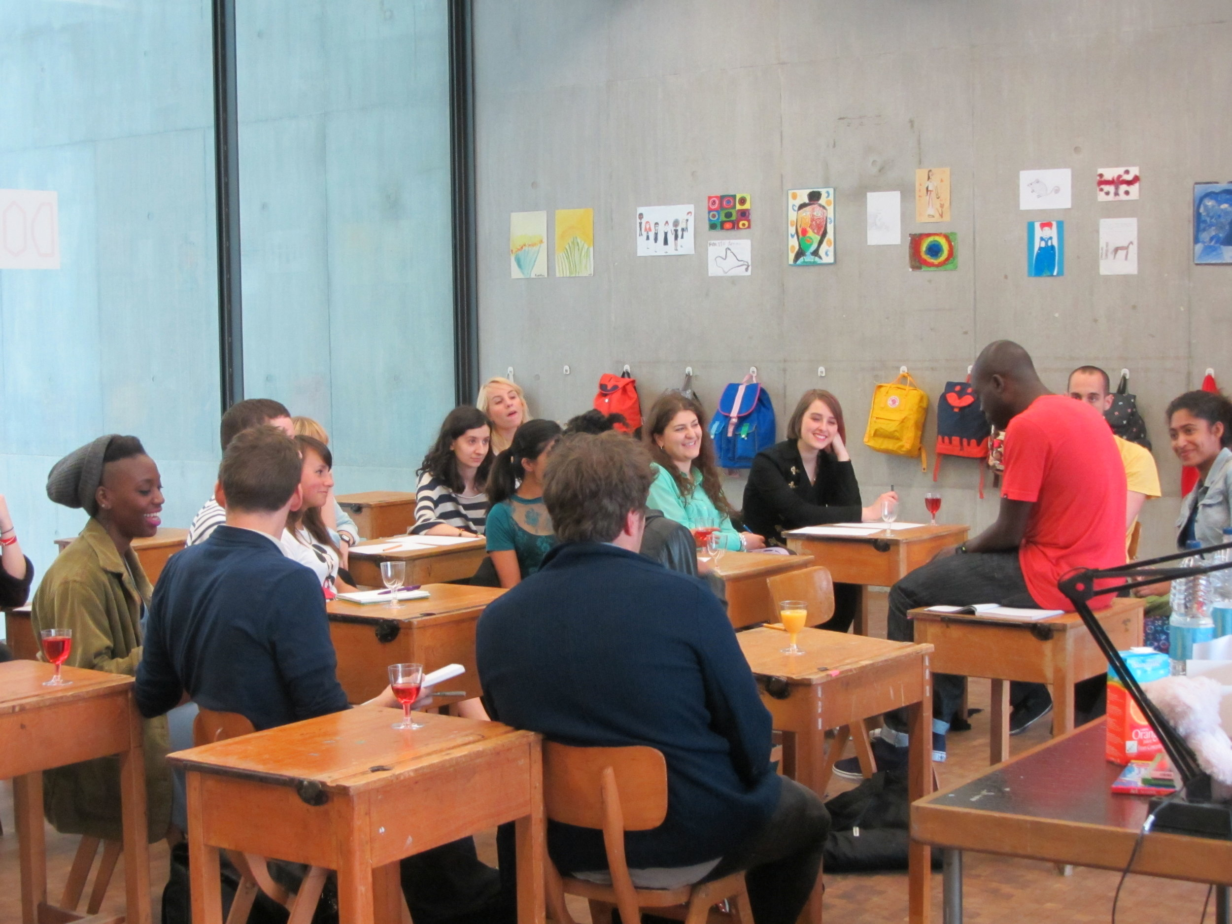 Facilitating a writing workshop at CSM with poet Charlie Dark.JPG