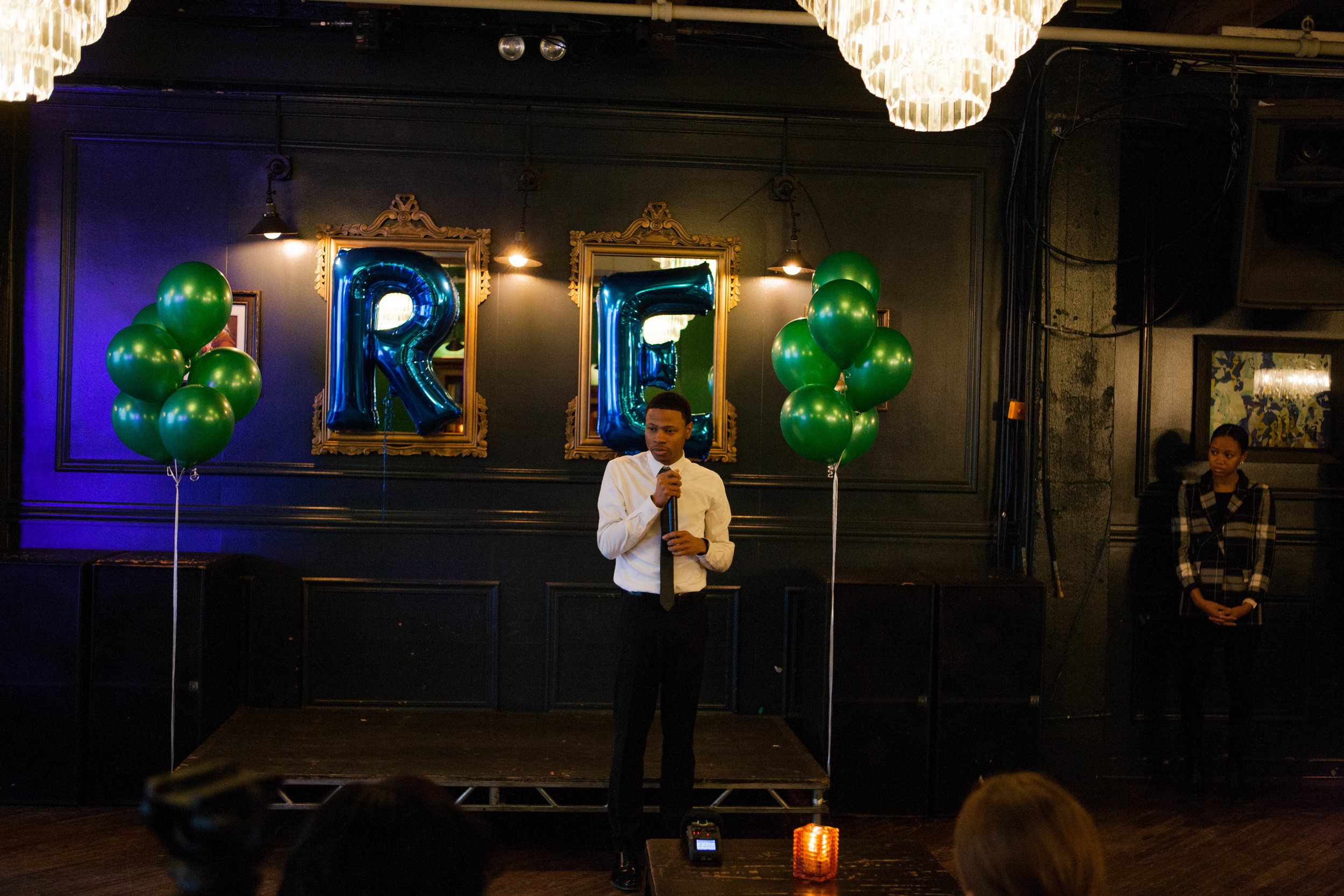 Robert gives a speech at the campaign's launch fundraiser.