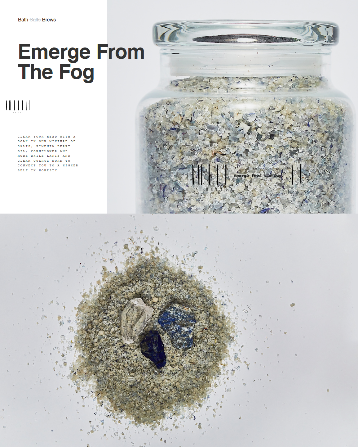 """Crystal & Herbal Bath Music by Dynasty Electrik - Los Angeles musical duo Dynasty Electrik have produced a new composition to accompany """"Emerge From the Fog"""", a crystal and herbal bath infusion from Bath Brew by Hellen NYC. The music is a 22 minute journey into the world of celestial sound featuring piano, crystal bowls, gong, voice, theremin, ambient electronic music and the sounds of nature. The bath features a mixture of salts, pimenta berry oil, and cornflower with lapis and clear quartz. Together, the bath and music are a perfect way to relax, rejuvenate, and create a sense of clarity, balance, and harmony.""""In many ways we are like musical instruments. Our hearts make a beat like a drum, our blood flows in a circulatory rhythm, and our minds are filled with the melody of thought. When we are out of tune, our bodies feel heavy, our minds feel filled with fog, and our spirits feel depressed. However, when the layers of our being are harmonized and in-tune, our bodies feel light and energetic, our minds feel clear and balanced, and our spirits soar. Music is a potent form of energy which can harmonize the layers of our being and bring us back in-tune. Taking a crystal and herbal infused bath is a naturally healing activity and together with the magic of music, it is a powerful means to create greater wellness, clarity, and peace in our lives. It was a great pleasure and joy to create the music for Emerge From the Fog, and it is our hope that it will bring you great pleasure and joy as well!"""" – Seth Misterka"""