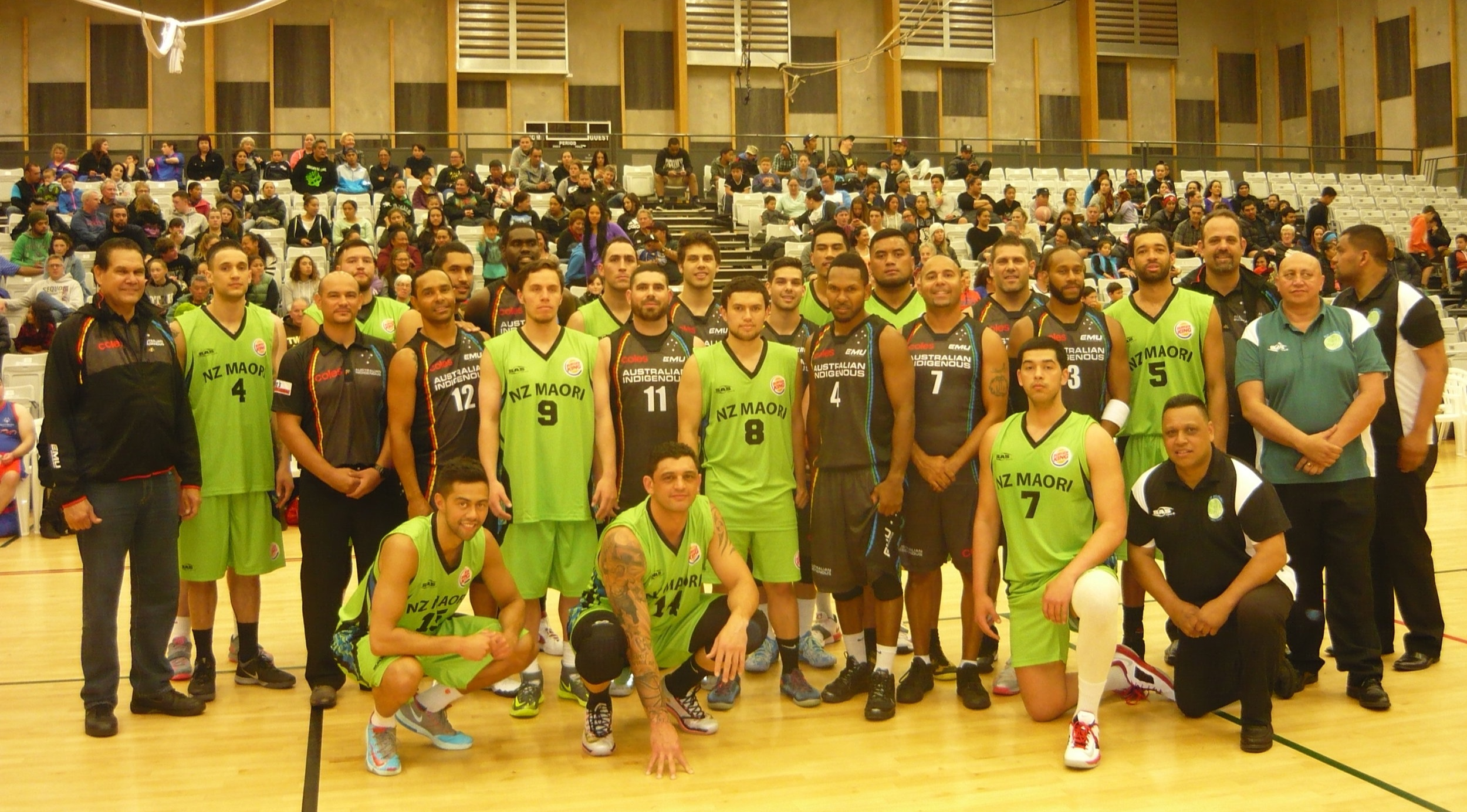 The 2014 Australian Indigenous Basketball All Stars & New Zealand Maori National Team join together for a group picture before the first ever Trans-Tasman game played in Otaki.